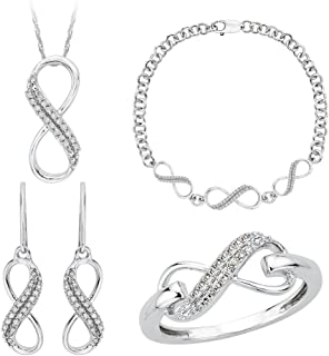 Infinity Diamond Jewelry Set in Sterling Silver (3/8 cttw)