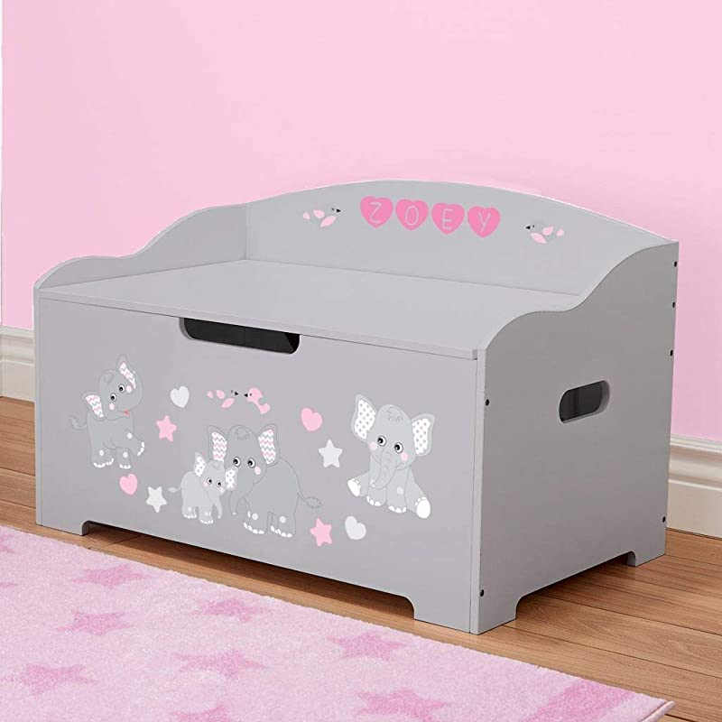 DIBSIES Personalization Station Personalized Dibsies Modern Expressions Toy Box Gray With Pink Elephants