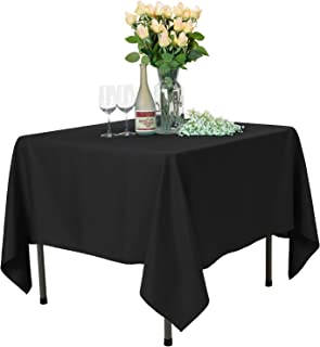 VEEYOO Square Tablecloth 100% Polyester Table Cloth for Indoor and Outdoor Table – Solid Dinner Tablecloth for Wedding Party Restaurant Coffee Shop (Black, 85x85 inch)