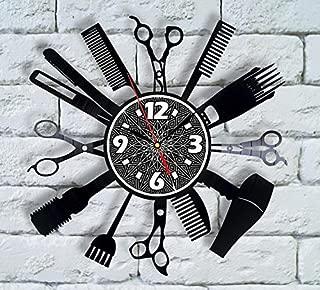 Comb Man Barber Shop Decor Vinyl Clock Salon Logo Hair Comb for Men Beautician Gift Hair Stylist Decorations Barber for Men Design Extension