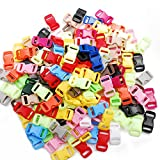 100pack Assorted 3/8'Curve Contoured Side Release Buckle for Parachute 550 Cord Paracord Bracelet Pets Collar Strap Webbing Sewing Accessories FLC003-C