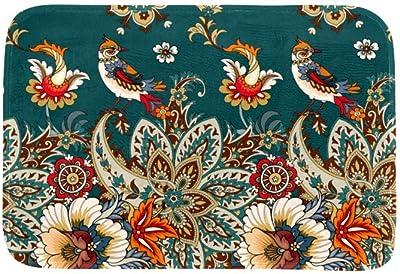 EGGDIOQ Doormats Gook Luck Birds Custom Print Bathroom Mat Waterproof Fabric Kitchen Entrance Rug, 23.6 x 15.7in