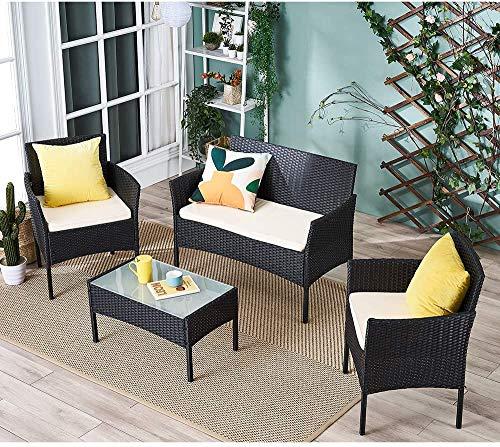Fujiyan 4 piezas de muebles de jardín con mesa de vidrio cúbico,Black