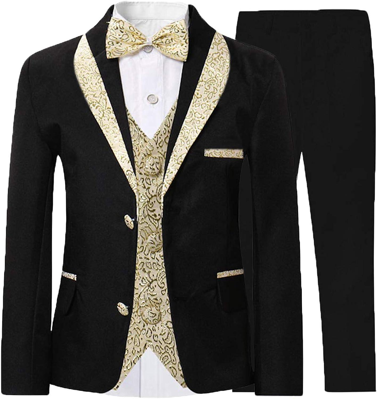 JEXJ Kids 3 Safety and trust Piece Suit Boys Tuxedo Shawl Children's Lapel Rare Formal
