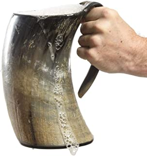 AleHorn the Original Handcrafted Authentic Viking Drinking Horn XXL 1 Liter Tankard for Beer Mead Ale Medieval Inspired Stein Mug Food Safe Vessel with Handle