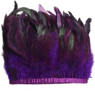 AWAYTR Rooster Feather Trim Width 5-7 inches Craft Feather Fringe Trim Pack of 5 Yards (Purple)