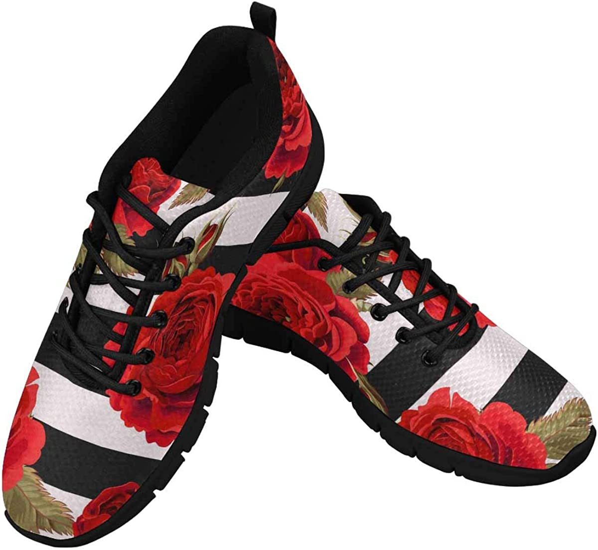INTERESTPRINT Red Roses Flowers Women's Athletic Walking Running Sneakers Comfortable Lightweight Shoes