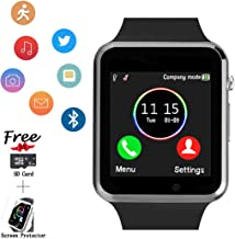 Smart Watch Phone, Smartwatch with SD Card SIM Card Slot Text Call Reminder Camera Music Player Pedometer Compatible with Android Samsung and iPhone(Partial Functions) for Men Women Kids