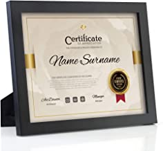 RPJC Document Frame/Certificate Frames Made of Solid Wood High Definition Glass and Display Certificates 8.5x11 Inch Standard Paper Frame with Stand Black