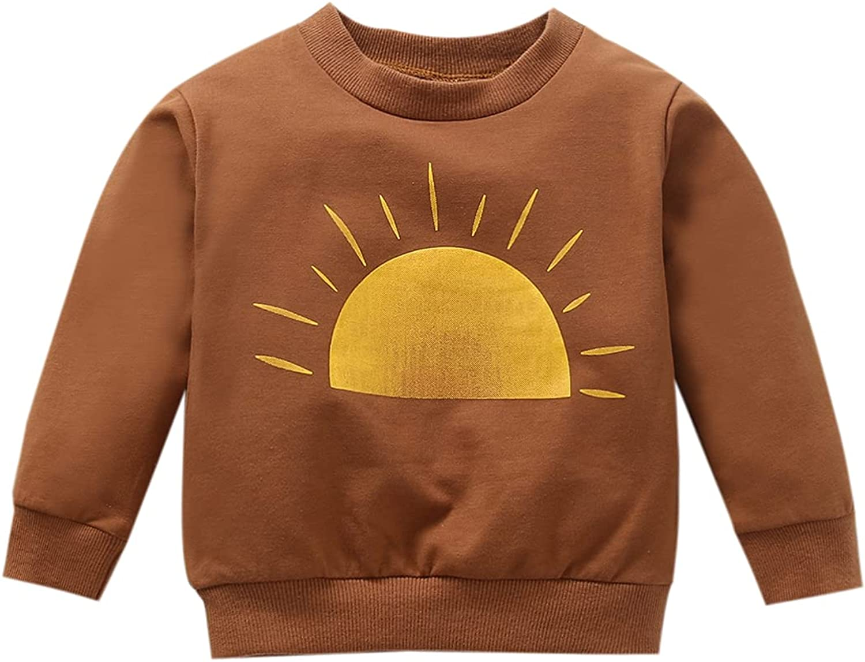 Infant Baby Girl Boy Pullover Sweatshirt Long Sleeve Crewneck Sunshine Face Portrait Mini Print Tee Shirts Fall Tops