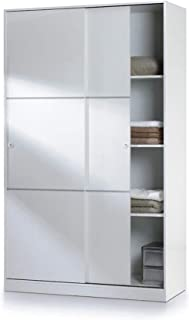 PEGANE Armoire avec 2 Portes coulissantes Coloris Blanc - Dim : L 120 x H200 x P 50 cm