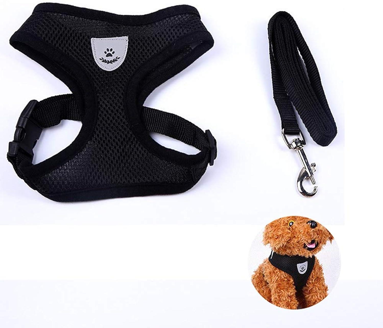 Adjustable Dog Harness, Mesh Dog Harness Vest Soft Mesh Dog Leash Belt Thoracic (Black),L
