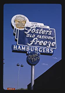 Vintography 16 x 24 Gallery Wrapped Framed Art Canvas Print of Foster's Old Fashion Freeze ice Cream Sign, Paso Robles, California 1991 Roadside Americana Ready to Hang 12a