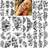 VANTATY 27 Sheets Large Sexy Rose Flower Temporary Tattoos For Women, Girls Bohemian Fake Tattoos Stickers Thigh Arm, Realistic Temporary Tatoos Peony Black Florals Sketch Plants Waterproof Tatto Kids