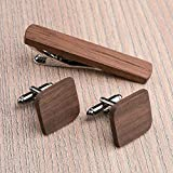 Rounded Square Wood Cufflinks and Tie Clip Set. American Walnut wood. Custom personalized initial monogram men gift. Engraved jewelry for men. Wedding groomsmen groom gifts. Exclusive Boss gift