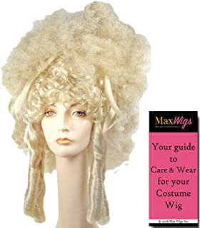 Fantasy Madame Color WHITE - Lacey Wigs Dominatrix 18th Century Marquise Sexy French Revolution Les Miserables Bundle with MaxWigs Costume Wig Care Guide