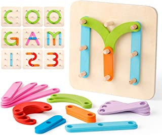 Coogam Wooden Letter Number Sorter Puzzle Educational Stacking Blocks Toy Set Shape Color Construction Pegboard Sorter Act...