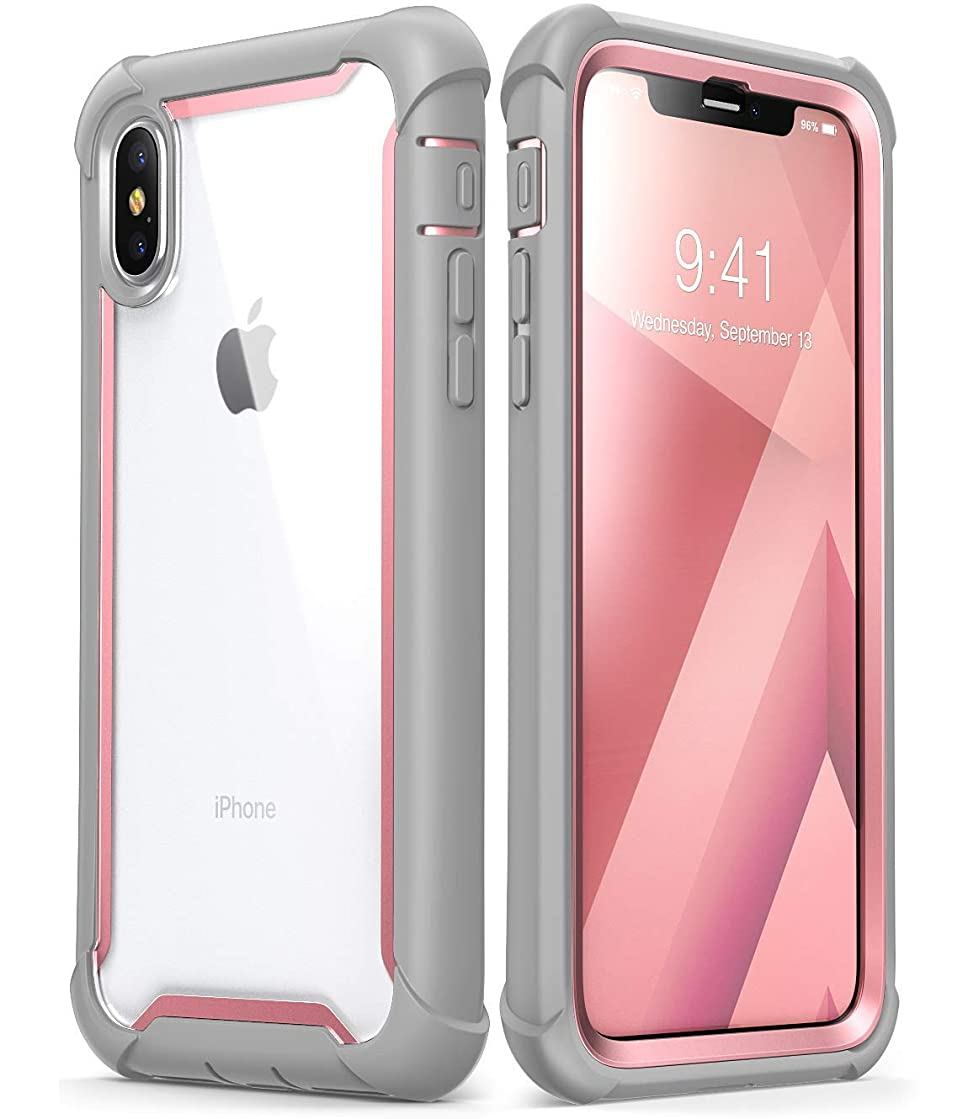 iPhone Xs Case, iPhone X Case, i-Blason [Ares] Full-Body Rugged Clear Bumper Case with Built-in Screen Protector for iPhone Xs 5.8 Inch (2018 Release) (Pink) (Renewed)
