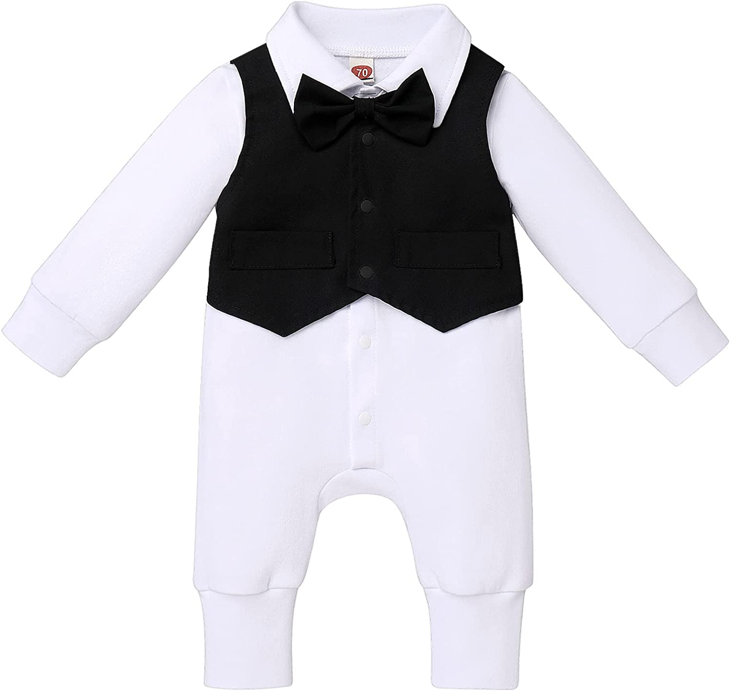 Baby Boys Baptism Christening Outfit Bowtie Romper Waistcoat Long Sleeve Wedding Party Formal Ring Bearer Tuxedo Suits