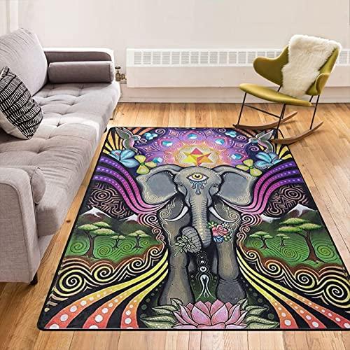 Modern Oversized Hindu Buddha Elephant Art Area Rug Floor Carpet Bathroom Mat for Kitchen/Living/Bedroom/Gaming Room Home Decor
