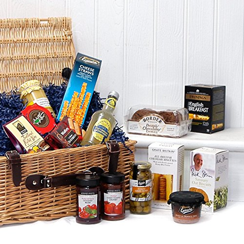 The Gourmet Greetings Luxury Wicker Gift Hamper Basket with 14 Items from Fine Food Store Gift ideas for – Christmas,Fathers Day,Valentines,Presents,Birthday,Men,Him,Dad,Her,Mum,Thank you,Wedding Anniversary,Engagement,18th,21st,30th,40th,50th,60th,70th,8