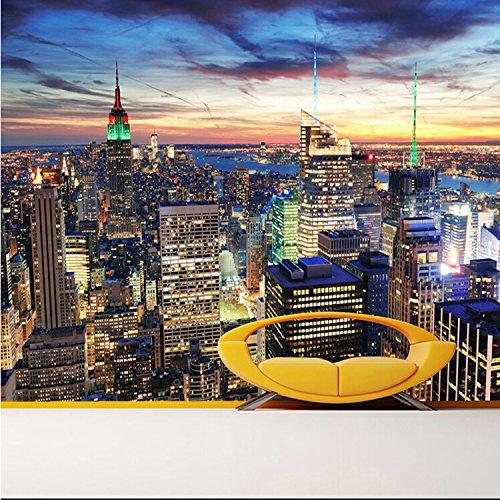 LHDLily 3D Papier peint Wallpaper Fresque Mural 3D New York Nuit Murale Moderne Canapé Salon Tv Murale Représentant La Construction De Murs 300cmX200cm