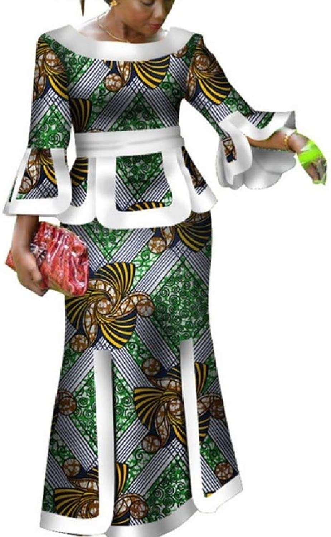 Doufine Women's African Floral Batik Crop Top Skirt Outfits Maxi Dress