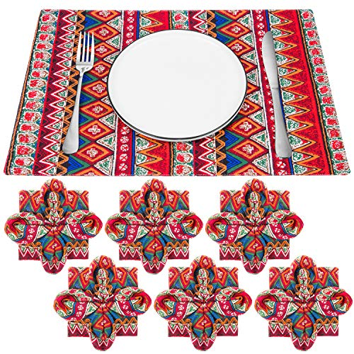 Natural Linen Placemats, Reversible Cotton Linen Fabric Vintage Table Mats Washable Non-Slip Heat Resistant Place Mats for Party Kitchen Dining Decorations (Bohemia Style x6)