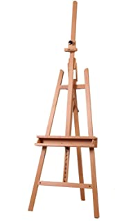 MEEDEN Large Painters Easel Adjustable Solid Beech Wood Artist Easel, Studio Easel for Adults with Brush Holder, Holds Canvas up to 48