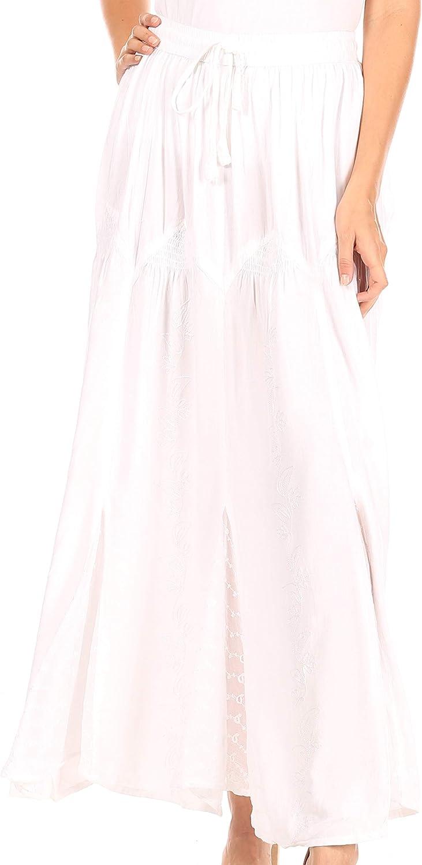 Sakkas Olivia Womens Maxi Bohemian Gypsy Long Skirt with Elastic Waist and Lace