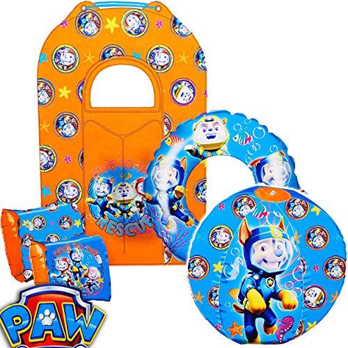 alles-meine.de GmbH 5 TLG. Schimmset _ Set mit Schwimmflügel + Schwimmring + Wasserball + Luftmatratze / Paw Patrol - Hunde - aufblasbar - 2 bis 7 Jahre - Schwimmärmel - Schwimmh..