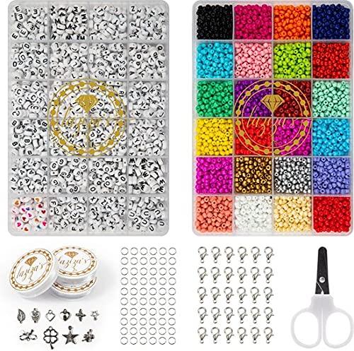 Perlen set Schmuck Perlenherstellungsset Glassamen und Briefperlen DIY (Do it Yourself) DIY Schmuckherstellung für Kinder und Erwachsene Schmuckset