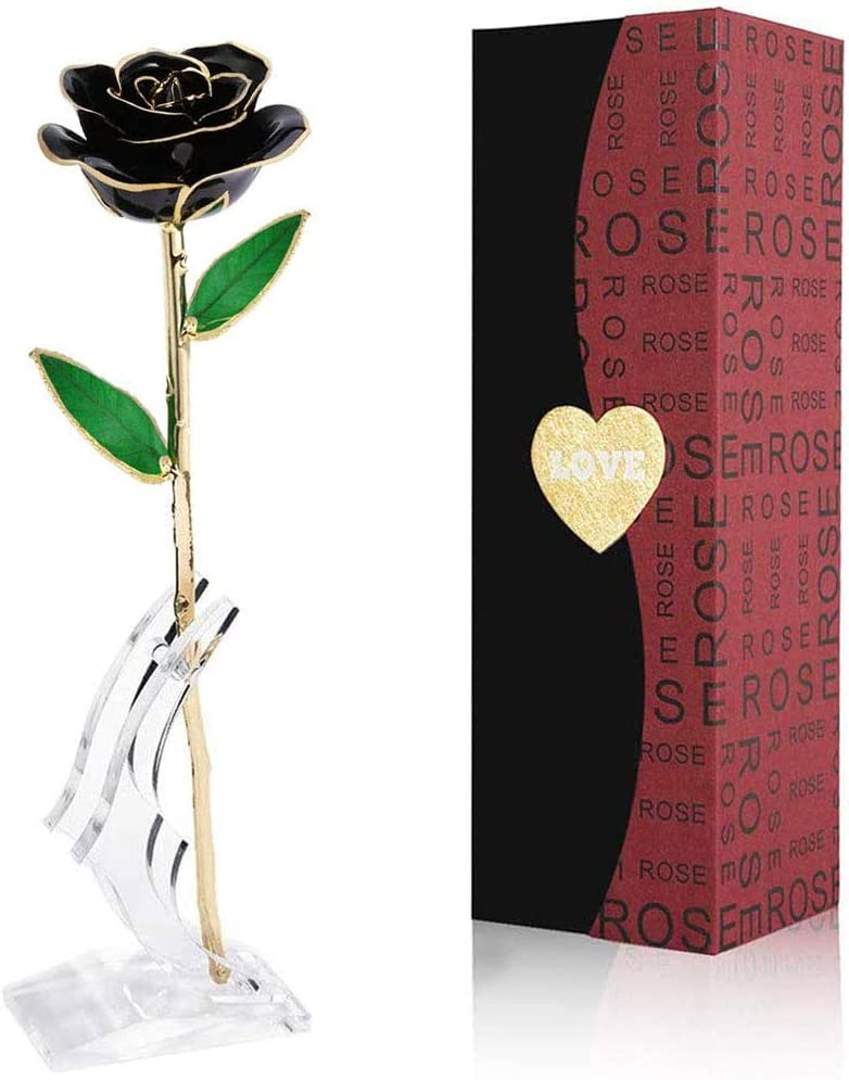Gold Dipped Rose National products Black in Stem Flowers 24k Gold-Long Shipping included