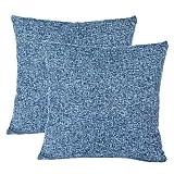 GHJK Funda de Cojín 40x40cm Azul Funda Almohada para Cojín Cuadrado Algodón Lino Decorativo para Dormitorio Salón Hogar Sofá Cama Coche 2 Piezas