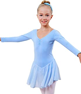 Miyarooma Girls' Ballet Ruffle Long Sleeve Leotard Open Crotch Student Kids Dance Dress