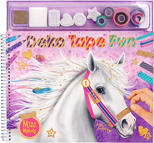 Depesche 10470 Malbuch mit Masking Tape Miss Melody, ca. 26 x 29 x 2,5 cm, bunt