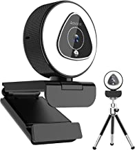 1080P HD Streaming Webcam with Ring Light and Dual Microphone, 2021 Aoboco USB Webcam with 5 Level Digital Zoom, Web Camer...