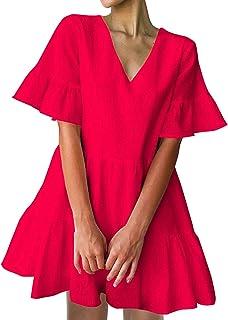 FANCYINN Women's Cute Shift Dress with Pockets Bell Sleeve Ruffle Hem V Neck Loose Swing Tunic Mini Dress
