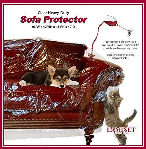 Best LAMINET Thick Crystal Clear Heavy-Duty Water Resistant Sofa/Couch Cover - Perfect for Protection Aga