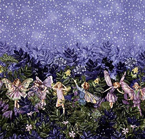 Michael Miller MM582 Stoff mit Blumenfeen-Motiv, Doppel-Bordüre – 60 x 110 cm, 100% Baumwolle