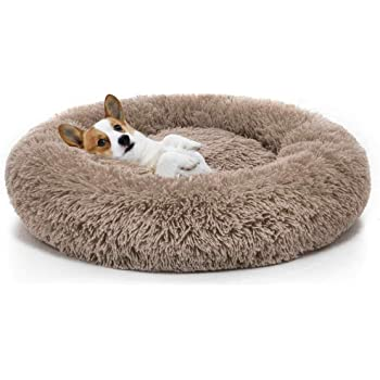 Round Pet bed, Calming Bed Plush NestWarm Soft Cushion Donut Cuddler Cat  Dog Puppy Comfortable for Sleeping Winter (100cm, Coffee): Amazon.co.uk:  Pet Supplies