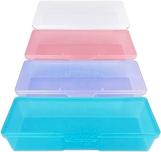 Beauticom Personal Box Storage Case for Professional Manicurist Nails Pedicure (Large Size) (4 Pieces Mix Color, Mix Color: Pink, Blue, Frosted, Purple)
