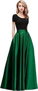 Women Satin Skirts Long Floor Length High Waist Fomal Prom Party Skirts with Pockets Back Zipper Closure