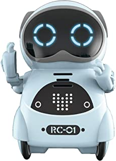 SPACE LION Educational Mini Pocket Robot for Kids Interactive Dialogue Conversation,Voice Control, Chat Record, Singing& Dancing (Blue)