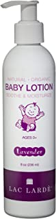 Lac Larde Natural and Organic Baby Lotion Soothing Moisturizer (Lavender) Safe for Eczema - Calming for Babies, Kids, Teens, and Adults - 8 oz Concentrated Formula
