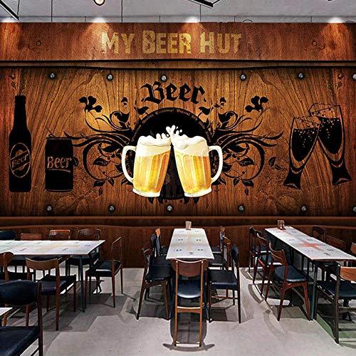 XIAOHUKK 3D self-Adhesive Wallpaper Large Mural Photo Wallpaper Beer hut Wood Board Poster Wallpaper Decorative Mural Wallpaper Home Decoration