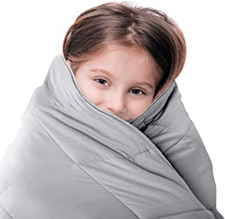 LUNA Weighted Blanket (5 lbs - 36x48 - Twin Size) – Organic Cooling Cotton & Premium Glass Beads – Designed in USA – Heavy Cool Weighted Blanket for Hot & Cold Sleepers – Kids or Adult – Grey