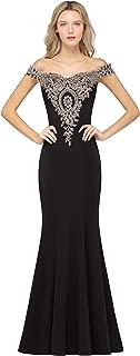 MisShow Off-Shoulder Gold Appliques Mermaid Long Evening Formal Prom Dresses for Women