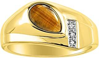 RYLOS Timeless Pear Shape Cabochone Color Stone Gemstone & Natural Diamond Ring Set in 14K Yellow Gold Plated Silver