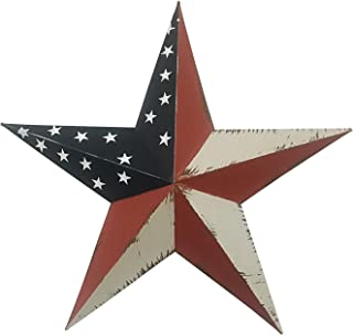 Rainbow Handcrafts Rustic Metal 3D Barn Star Patriotic Wall Decor American Flag Wall Star July 4th Country Americana Patriotic Wall Ornament,Outdoor Decoration